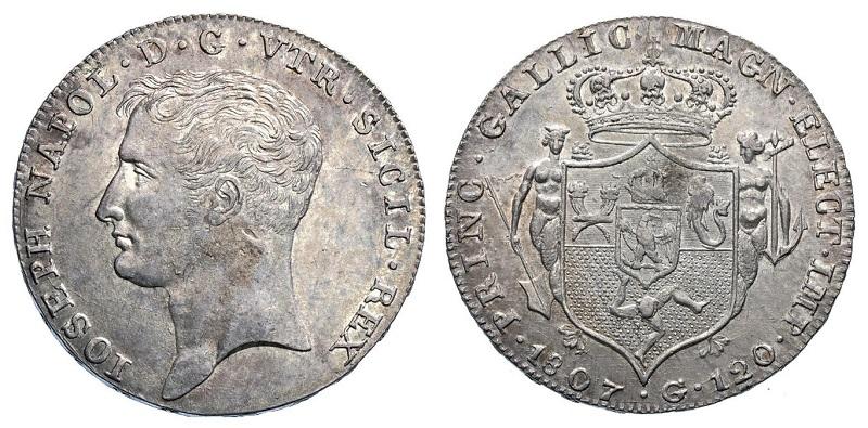 Un esemplare di 120 grana per Napoli datato 1807 a nome di Giuseppe Napoleone (Ag, mm 38 per g 27,5)