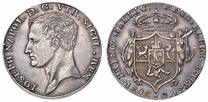 Completa la serie delle monete napoletane a nome di Giuseppe Napoleone la piastra con millesimo 1808 (Ag, mm 38 per g 27,5)