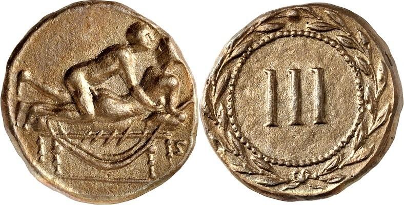 """Un esemplare di """"spintria"""" in bronzo probabilmente usato nelle case di piacere dell'antica Roma come """"contromarca di servizio""""; quella che in tempi più recenti sarebbe diventata la ben nota """"marchetta"""""""