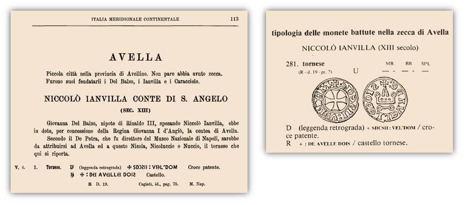 """Stralci del """"Corpus"""" e del volume di Elio Biaggi dedicate ai presunti tornesi della zecca di Avella"""