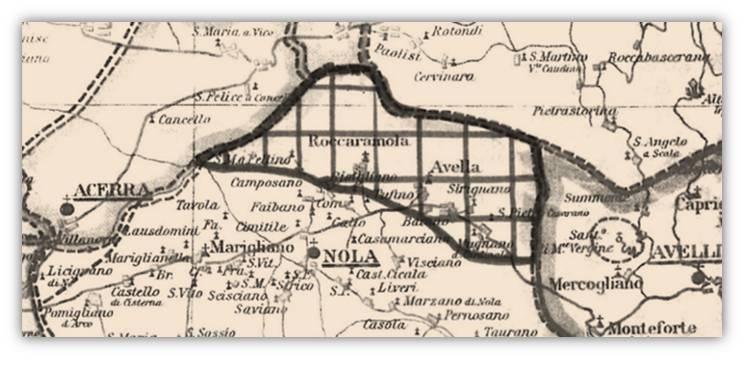 Evidenziato a riquadri, il territorio su cui si sarebbe estesa la presunta diocesi di Avella