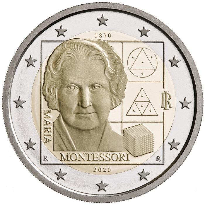 Maria Montessori sui 2 euro d'Italia 2020 emessi in proof e in rotolini fior di conio da 25 monete l'uno lo scorso 9 giugno