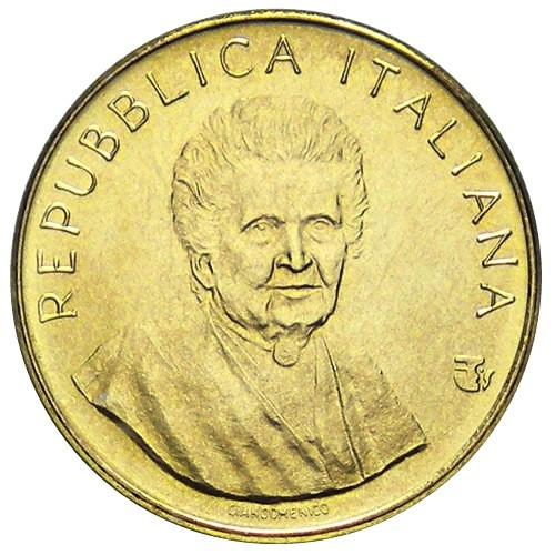 Maria Montessori sul dritto delle 200 lire FAO 1980, prima moneta dedicata alla scienziata e modellata da Sergio Giandomenico