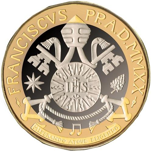 """Lo stemma """"scomposto"""" di papa Bergoglio con una nota musicale in basso, frutto della creatività di Orietta Rossi"""