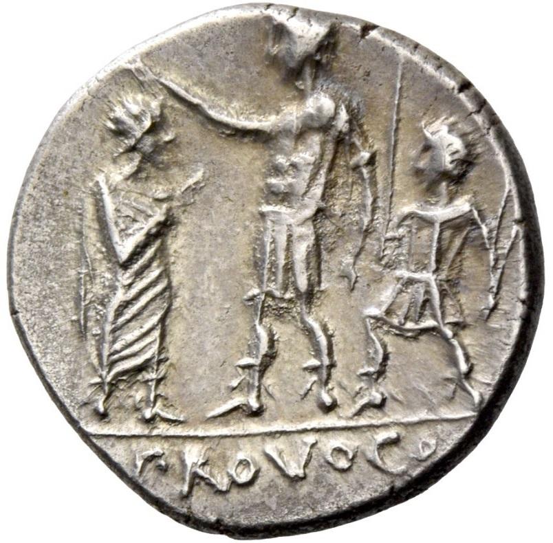 """PROVOCO si legge nell'esergo del rovescio di questo denaro repubblicano coniato nel 110-109 a.C. e che rappresenta una vera e propria """"illustrazione"""" di uno dei principi del diritto romano"""