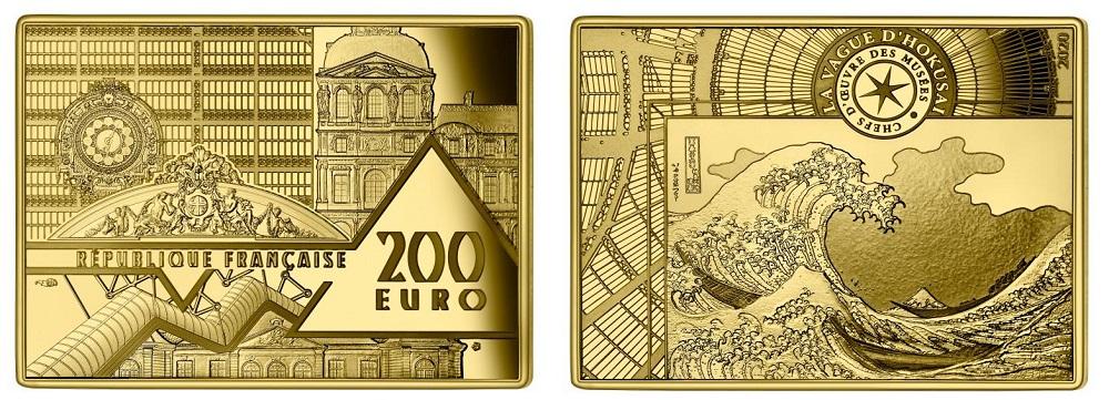 """""""L'onda"""", magnifica stampa giapponese di epoca Edo, nella versione monetata in oro da 200 euro"""