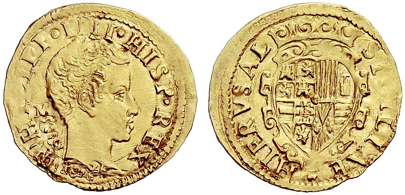 Un rarissimo ducato d'oro napoletano di Filippo IV del 1622 con sigla MC di Michele Cavo