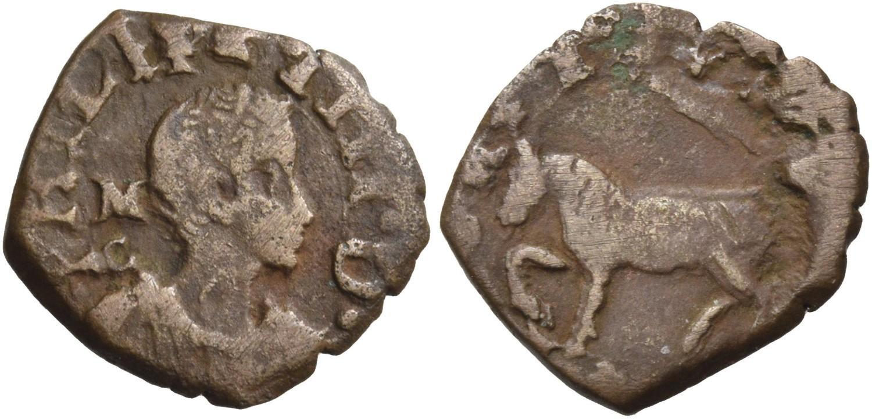 Un cavallo in rame napoletano con ritratto giovanile del re di Spagna Filippo IV e, al dritto, iniziali del maestro di zecca che lo datano al 1622