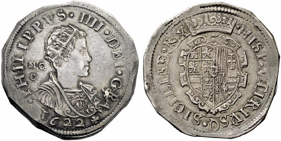 Un bel ducato in argento partenopeo datato 1622 con ritratto coronato di Filippo IV