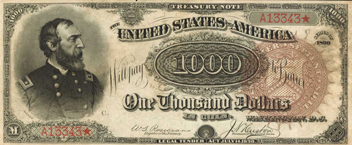 """Il biglietto del Tesoro USA da 1000 dollari del 1890 ribattezzato """"Grande cocomero"""", sfrotunato al momento dell'emissione e milionario sul mercato numismatico"""