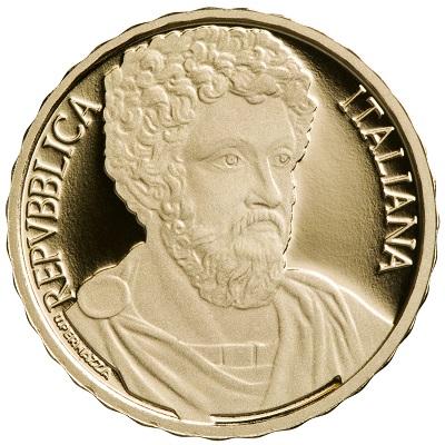 Il ritratto di Marco Aurelio, imperatore e filosofo, ultimo degli stoici, sui 10 euro italiani in oro a corso legale dal 23 giugno