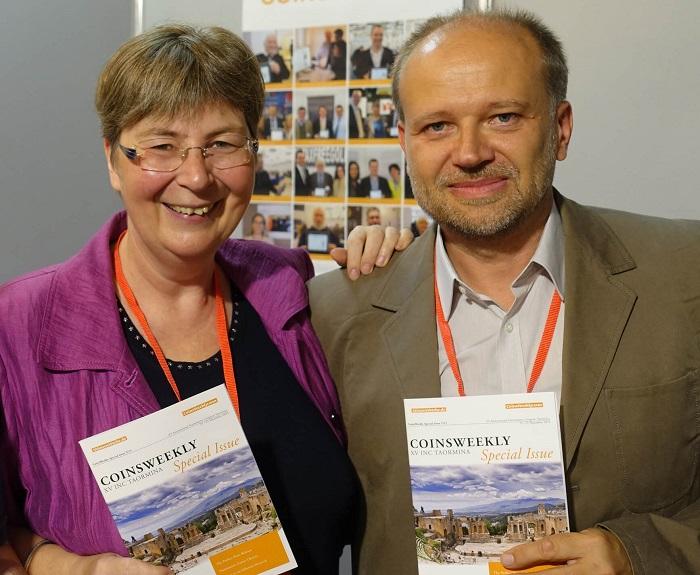 Ursula Kampmann con Mikael Matzke al XV Congresso internazionale di numismatica a Taormina nel 2015