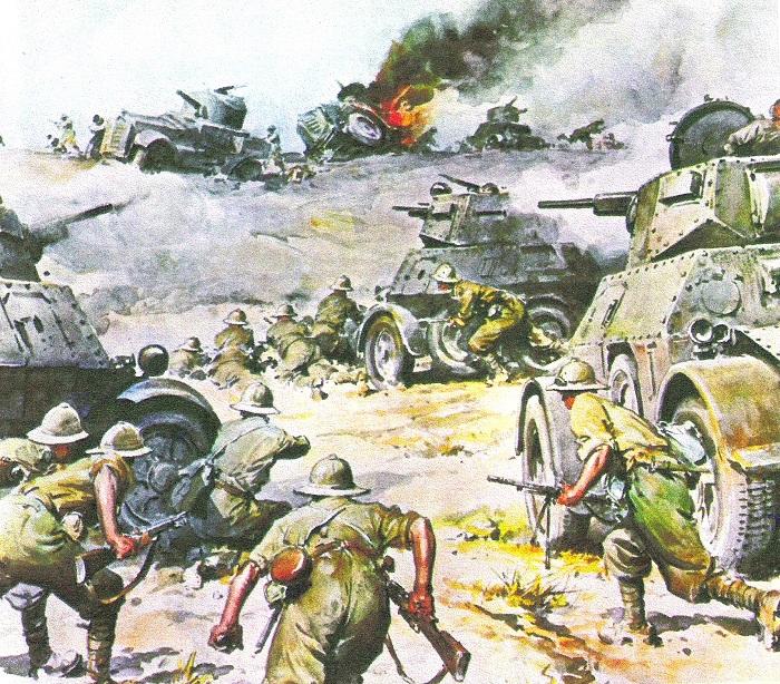 Un'illustrazione d'epoca che mostra i combattimenti in Nord Africa nel 1941