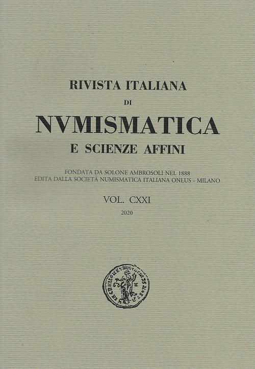 """La coperina della """"Rivista italiana di numismatica e scienze affini"""" del 2020, volume CXXI"""