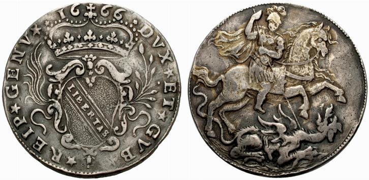Alcune banche arrivarono ad aver diritto di battere moneta: qui vediamo un 8 reali in argento del 1666 emesso dal Banco di San Giorgio a Genova
