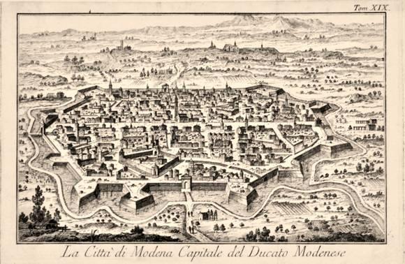 La città di Modena, capitale del Ducato, in un'antica stampa