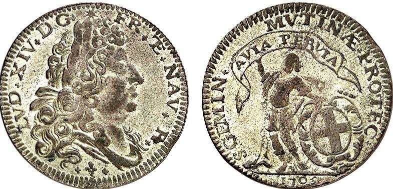 La lira è il massimo nominale coniato a Modena dai francesi: questo rarissimo esemplare porta la data 1705