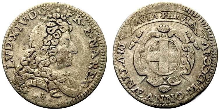 La mezza lira della zecca di Modena coniate a nome di Luigi XIV di Francia con motto AVIA PERVIA