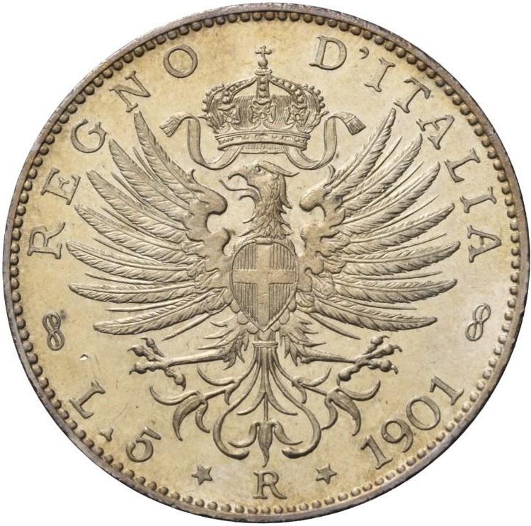 5 lire 1901 rovescio