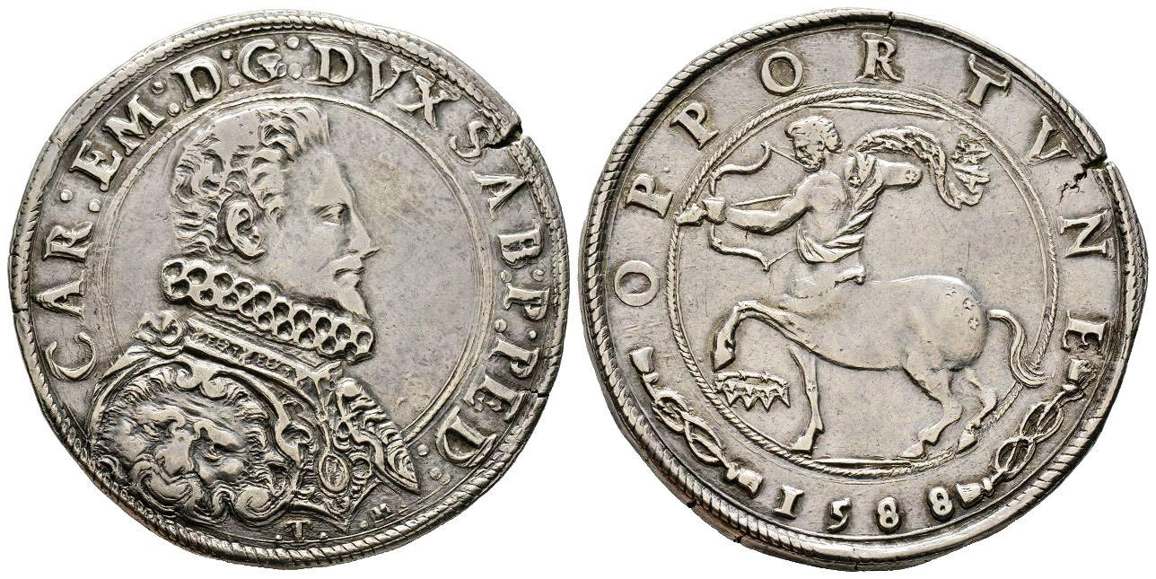 Ducatone torinese anno 1588 con il centauro e la costellazione del Sagittario, il tutto con nodi sabaudi e motto OPPORTVNE in abbinamento ad un magnifico ritratto del duca