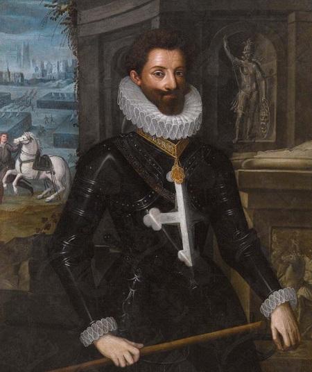 Carlo Emanuele I ritratto con le insegne degli ordini sabaudi: il collare dell'Ordine dell'Annunziata e la corazza con croce mauriziana