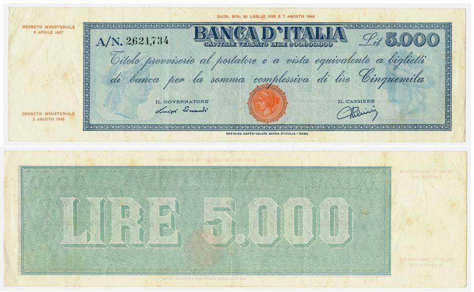 """Taglio provvisorio della Banca d'Italia da 5000 lire con contrassegno Testina. Vi si legge sul fronte come il titolo sia """"al portatore ed equivalente a biglietti di banca""""(courtesy cartamoneta.com)"""