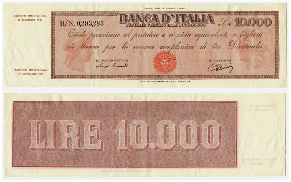 Uno dei milioni di titoli provvisori da 10.000 lire emessi dalla Banca d'Italia con contrassegno Testina al centro del fronte. Il modello del biglietto deriva dai vaglia cambiari di Via Nazionale (courtesy cartamoneta.com