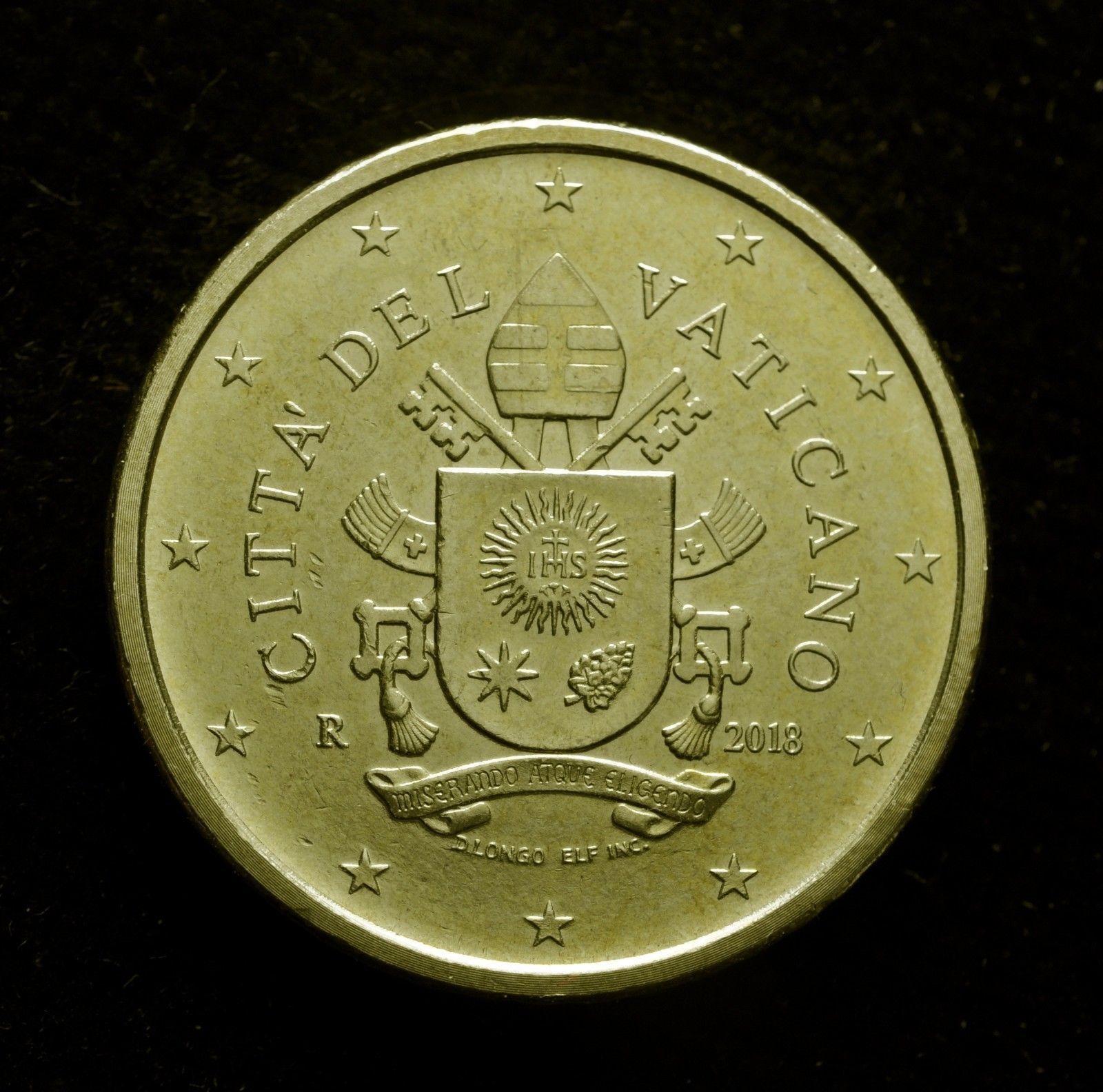 I 50 centesimi vaticani, qui un esemplare con data 2018, sono la moneta scelta per essere inserita nelle coin card prosotte dall'UFN