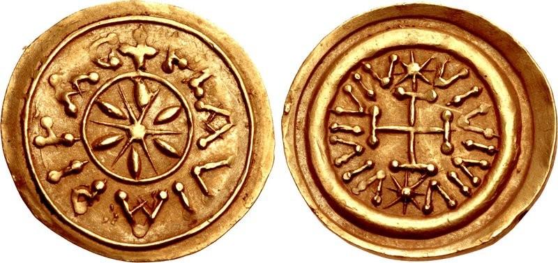 Rarissimo tremisse longobardo FLAVIA PISA coniato nella città toscana nel periodo fra il 700 ed il 750