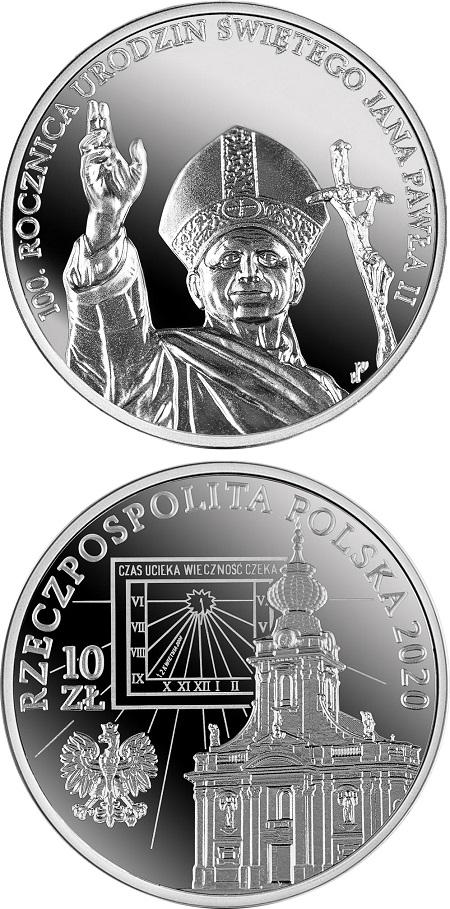 Il papa in viaggio, benedicente, e il suo tempo segnato dalla città natale e dalla meridiana su cui è incisa la data della sua scomparsa, il 2 aprile del 2005: questi i soggetti della seconda moneta polacca per Giovanni Paolo II