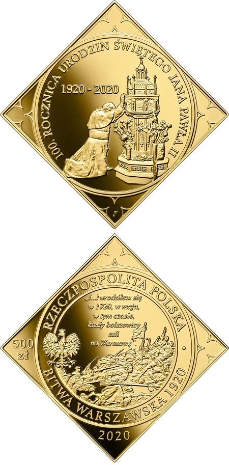 """Ricorda monete del passato, per la sua forma a rombo, la 500 zloty in oro emessa dalla Polonia per il secolo dalla nascita di Karol Wojtyla e dal """"miracolo della Vistola"""""""