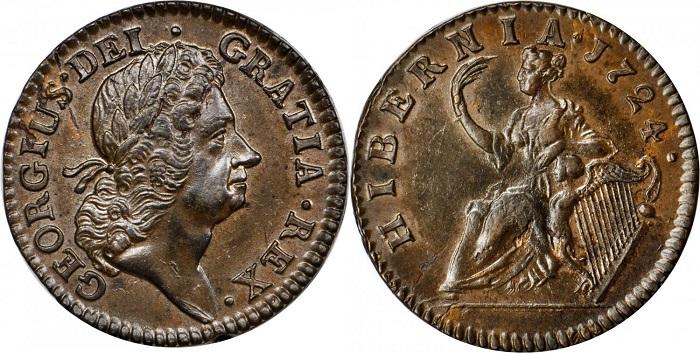 Un magnifico esemplare di penny in bronzo coniato dal Regno Unito per l'Irlanda nel 1724. Al rovescio la personificazione dell'Hiberni,a come già la battezzarono gli antichi Romani