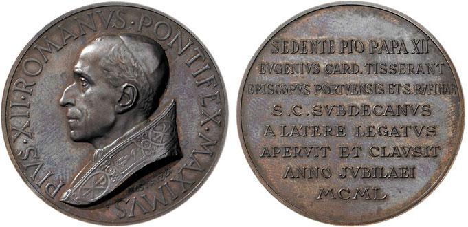Medaglia di Aurelio Mistruzzi (bronzo, mm 44) con ritratto di Pio XII e iscrizione per il cardinale Tisserant celebrativa delle cerimonie di apertura e chiusura della Porta Santa