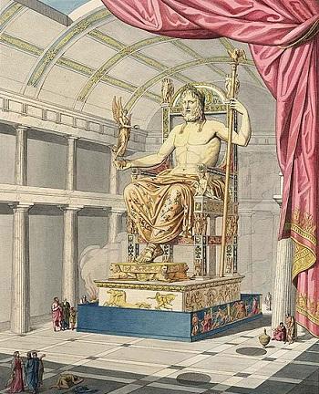 Il capolavoro di Fidia, la statua di Giove nel Tempio di Olimpia, ha ispirato l'incisore dei coni dell'aureo di Licinio