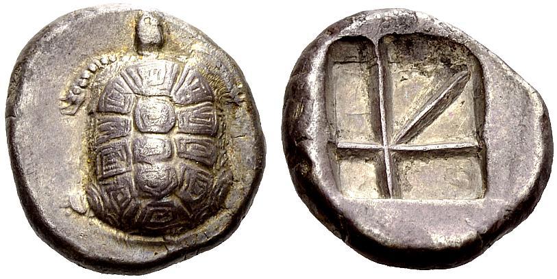 Egina, circa 380 a.C., statere in argento del peso di g 12,24. Al D/ una tartaruga vista dall'alto; al R/ quadrato incuso frazionato in più parti (Millbank tav. 2, 14; SNG Lockett 1995)