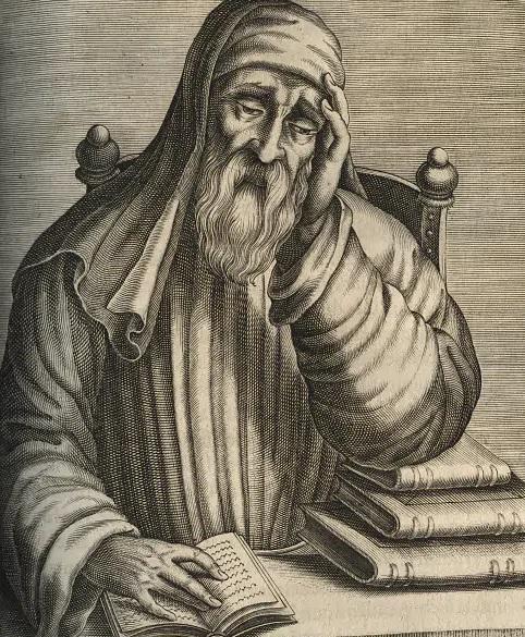 Plutarco, filosofo, scrittore e sacerdote greco vissuto fra I e II secolo dopo Cristo, così come immaginato in un'incisione antica