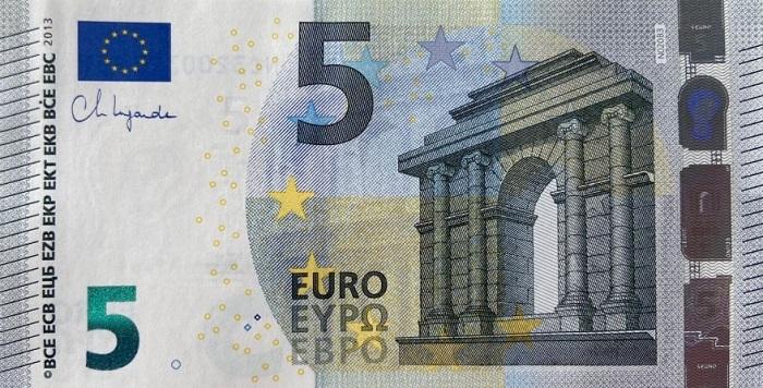 Ecco la prima immagine diramata dalla Bce del biglietto da 5 euro stampato con firma di Christine Lagarde