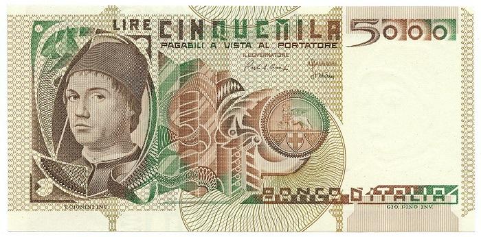 Il fronte delle 5000 lire Antonello da Messina con autoritratto del pittore siciliano