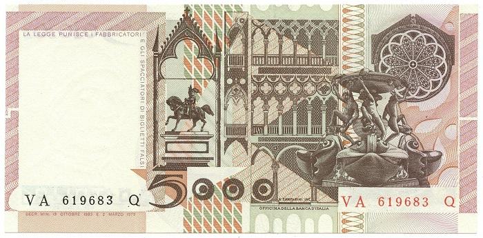 Monumenti e dettagli architettonici sul retro della banconota emessa nel 1979-1983