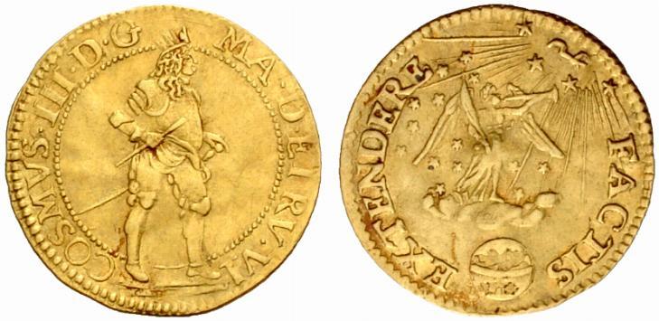 """Il rarissimo """"ongaro della Fama"""" con un inconfondibile, corpulento Cosimo III de' Medici al dritto e una magnifica allegoria sul rovescio"""