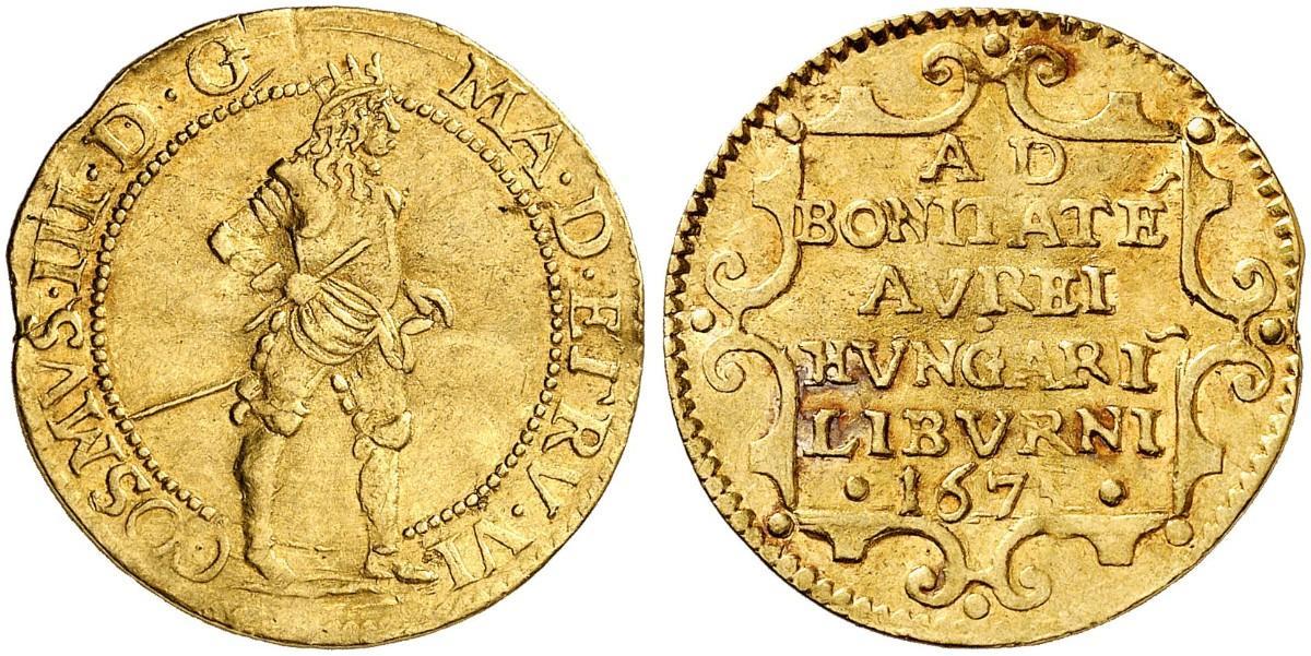 Si ritorna al classico: questo ongaro coniato a Firenze nel 1675 e con indicazione della città portuale di Livorno è molto più in linea con il modello tedesco