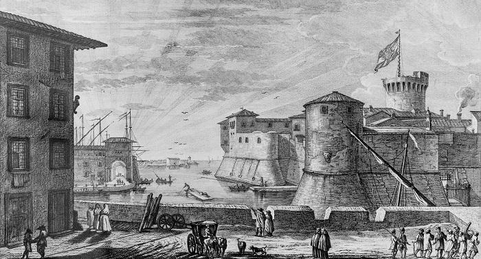 La fortezza e il porto della città di Livorno in un'incisione d'epoca
