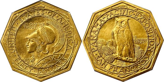 La versione ottagonale dei 50 dollari oro con Atena e la civetta, i bordi decorari da una serie di delfini guizzanti