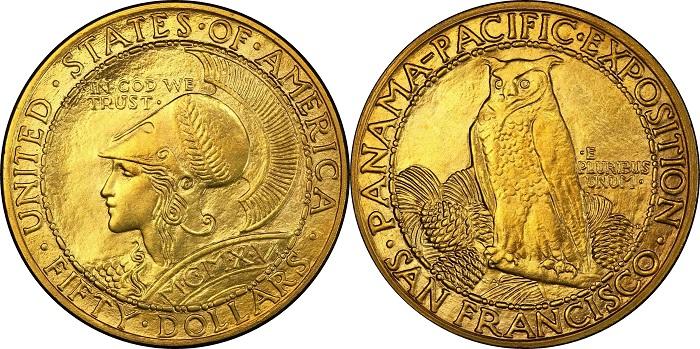 Uno dei soli 438 esemplari dei 50 dollari Panama-Pacific del 1915 superstiti, quello in vendita negli USA ad agosto