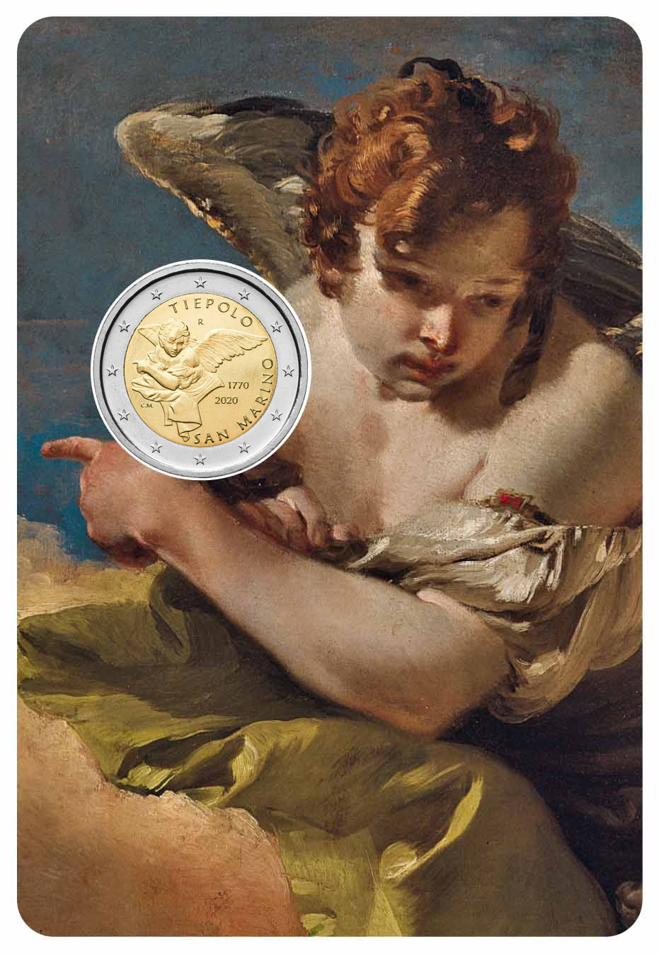 La moneta da 2 euro pet Tiepolo nel blister che riproduce il dettaglio del dipinto modellato in tondello dal maestro Claudia Momoni