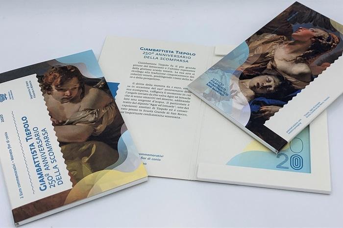 Il blister in cui San Marino, dal 27 luglio, commercializza i 2 euro fior di conio del 2020 dedicati al maestro della pittura veneta Giovan Battista Tiepolo