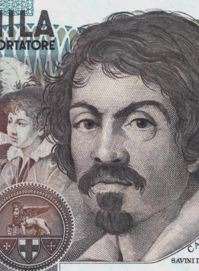 Michelangelo Merisi da Caravaggio come appare sulla celeberrima banconota italiana da 100 mila lire. Quale dei suoi capolavori sarà scelto da San Marino per i 2 euro 2021?