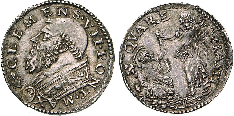 Clemente VII (1523-1534), doppio carlino in argento per la zecca di Roma i cui coni sono attribuiti al bulino di Benvenuto Cellini, eccellente maestro non solo nell'arte dell'oreficeria