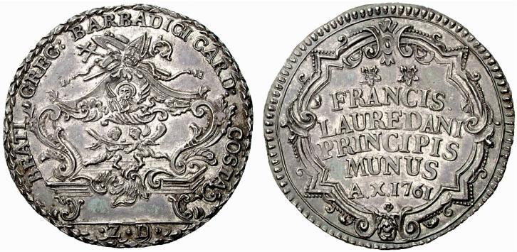 """L'osella """"della reliquia"""" coniata nel 1761 dal doge Francesco Loredan per la beatificazione del cardinale Barbarigo"""
