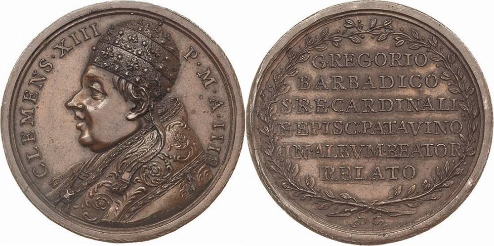 La medaglia che papa Clemente XIII Rezzonico dedica nel 1761 al beato Barbarigo, suo concittadino